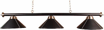 3 Shaded Pool Table Light In Black Leather##