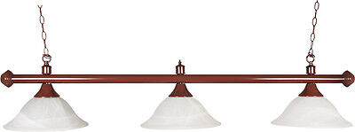 3 Opaque Shaded Pool Table Light With Mahogany Coloured Brass Rail##