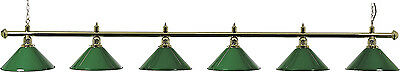 Brass And Six Green Shades Snooker Lamp 2 Piece Jointed##