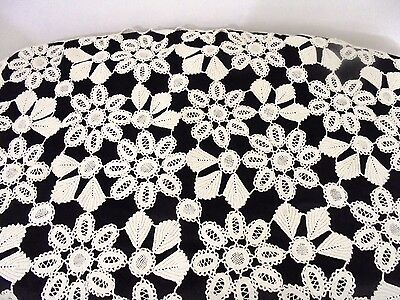 Vintage Crocheted Scalloped Lace Ivory Square Small Tablecloth Mint Condition