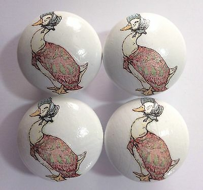 Handcrafted Decoupaged Beatrix Potter Jemima Puddle Duck White Drawer Knobs x 4