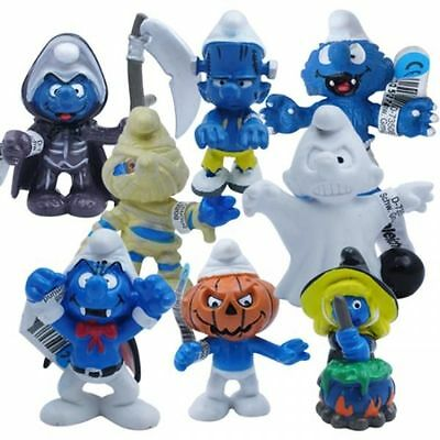 Halloween The Smurfs Toys Gift Costume Characters Cake Topper Figure Lot 8pcs