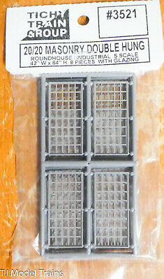 Tichy Train Group #3521 (S Scale) 20/20 Masonry Double Hung for: Roundhouse/Ind.