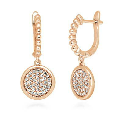 BERRICLE Rose Gold Flashed Sterling Silver CZ Round Dangle Drop Earrings