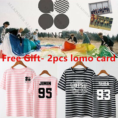 Kpop BTS Wings Stripe Tshirt Bangtan Boys T-shirt Jung Kook Suga Jimin Cotton