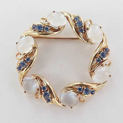 .delightful / Large 14Ct Gold, Natural Sapphire & Moonstone Brooch Val $2900