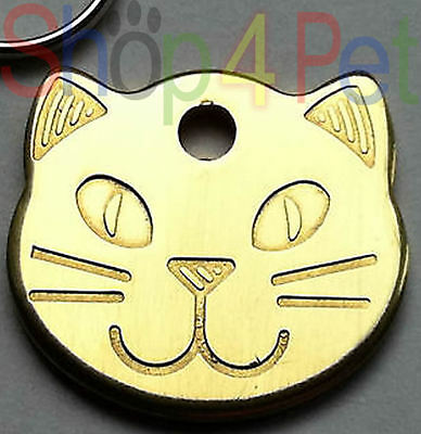 Pet ID Tags, Quality Polished Brass Cat Shape Tag, Solid & Thick ..Engraved FREE