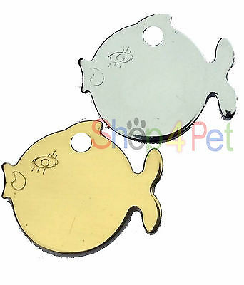 Pet ID Tag Tags Polished Chrome Fish Shape.Engraved FREE • EUR 2,73