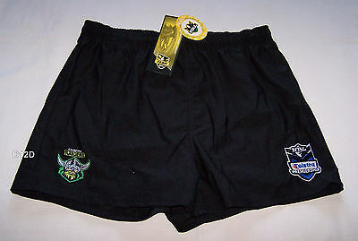 Canberra Raiders NRL Boys Black Embroidered Rugby Shorts Size 7 New