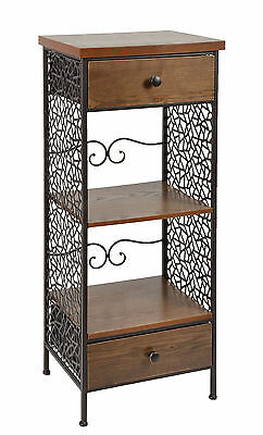 ts-ideen Cabinet Vintage Industrial Style brown 2 wooden drawers & middle shelf