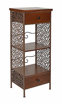 ts-ideen Cabinet Industrial Style light brown 2 wooden drawers & middle shelf