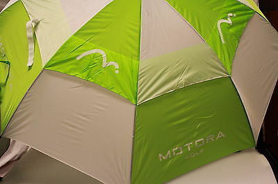"2 x 60"" Large Double Canopy Windbuster Golf Umbrella Lime Green/White Automatic"