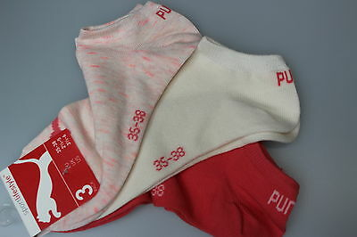 3 Pairs Ladies Puma Golf Trainer/Liner Socks Cream/Coral Pink/Mix Size 6 -8 New