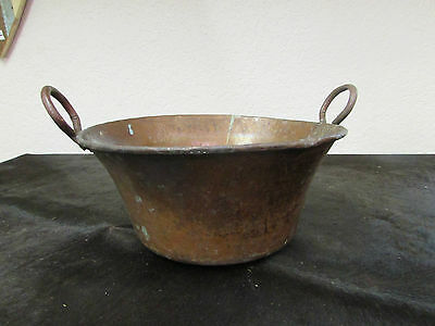 Antique Mexican Copper Bowl #14-Old Cazo-Rustic-Primitive-15Wx8D-Beauty-Solid