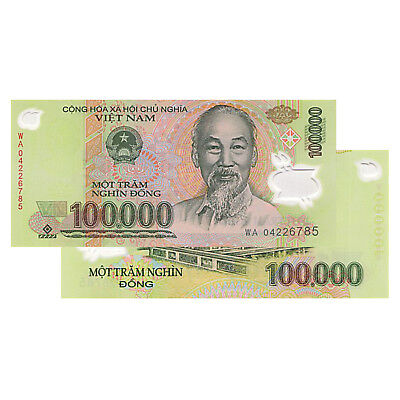 Vietnam 100,000 Dong Currency VND Polymer Banknote UNCIRCULATED UNC