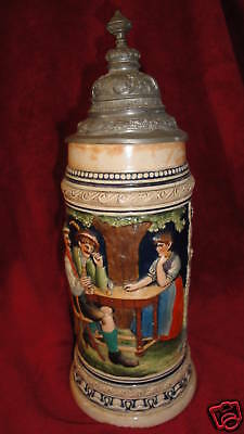 "THEWALT Vintage German Lidded Beer Stein 1L Musical 13"" The Years Pass...."