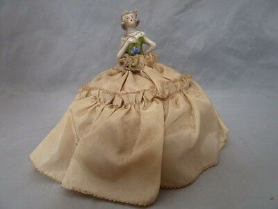 "Vintage Porcelain Half Doll Girl Pin Cushion. Approx 4.5"" Tall"