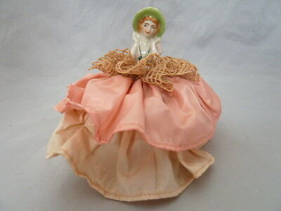 "Vintage Porcelain Half Doll Girl Woman Pin Cushion. Approx 4.25"" Tall"