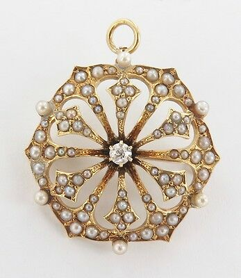 .14Ct Yellow Gold, Diamond & 83 Seed Pearl Combination Brooch/ Pendant Val $2200