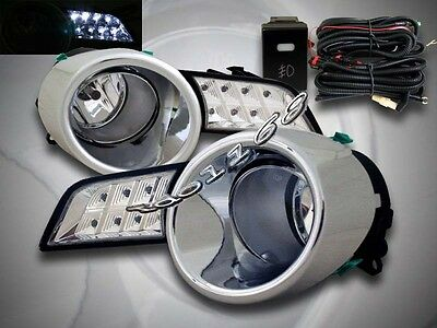 2008-2010 Toyota Highlander Clear Fog Lights + Switch + Wire + Led Running Light
