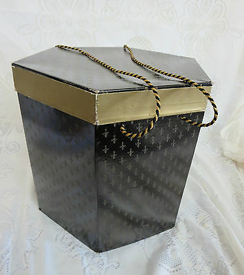 Vintage Black Gold Hat Box with Fabric Handles Six Sided