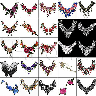 Lace Embroidered Floral Neckline Neck Collar Trim Clothes Sewing Applique New