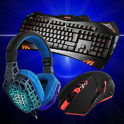 7 colors Gaming Backlight Keyboard and wireless Mouse and PC Headset w/Mic combo