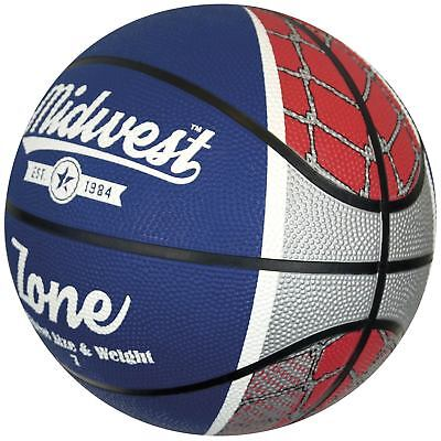 Midwest Zone Basketball Soft Rubber Official Ball - Blue / White / Red rrp£16
