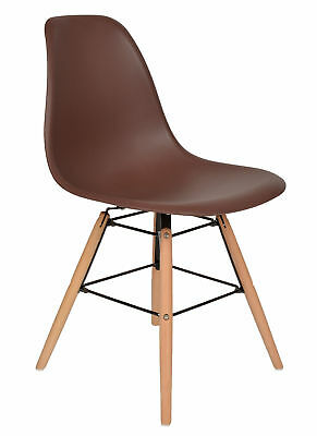 ts-ideen Design Chair Lounge Retro Style Brown and Beechwood
