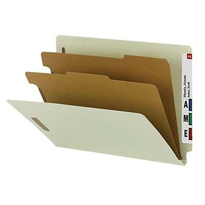 100 Percent Recycled End Tab Classification Folder, Letter Size Gray & Green,...