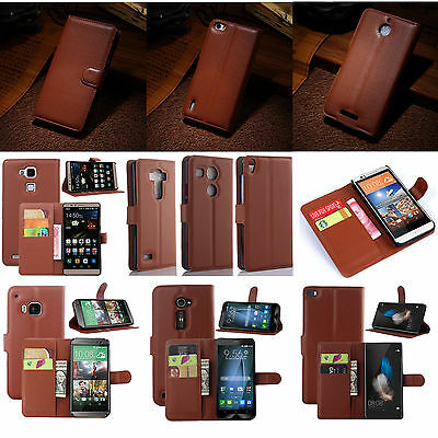 New Brown Luxury Flip PU Leather Card Slot Case Magnetic Stand Cover Book Wallet