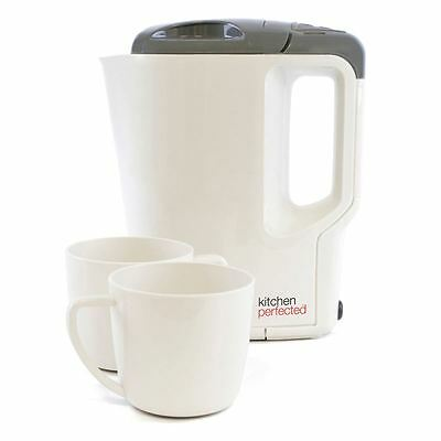 Lloytron E886 Cream/Grey 0.9L 1000W Stainless Steel Travel Kettle With Mugs New
