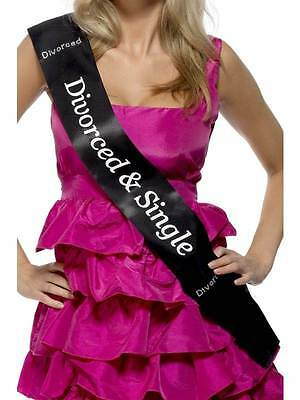 Miss Chief Black Divorced & Single Diamantes Sash Women Fancy Dress