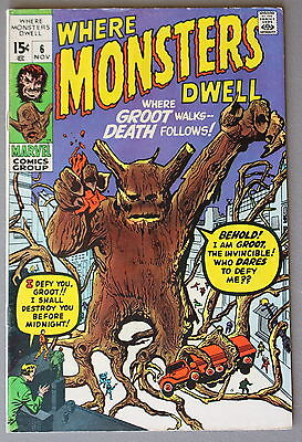 WHERE MONSTERS DWELL 6 Origin 1st GROOT-r TTA #13 KIRBY 1970 Guardians Galaxy FN