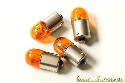 VESPA SET 4x Blinker Birne 12V/10W - Gelb - PK / XL / XL2 - Leuchtmittel Orange