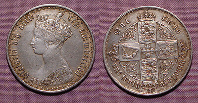 1857 QUEEN VICTORIA GOTHIC FLORIN - W.W. Below