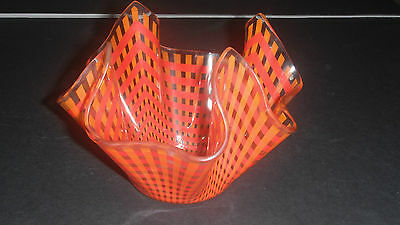 Red Orange Gingham Check Chance Glass Handkerchief Vase