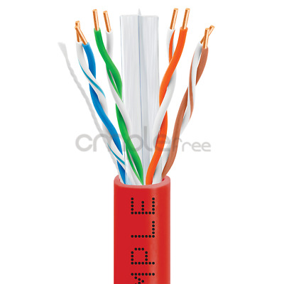 CAT6 CABLE 1000FT UTP SOLID NETWORK ETHERNET BULK WIRE 550MHz RJ45 LAN Red NEW