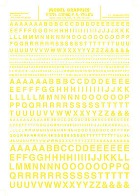 """Woodland Scenics MG724 Gothic R.R. Letters Yellow 1/16-5/16"""" Train Decal Sheet"""