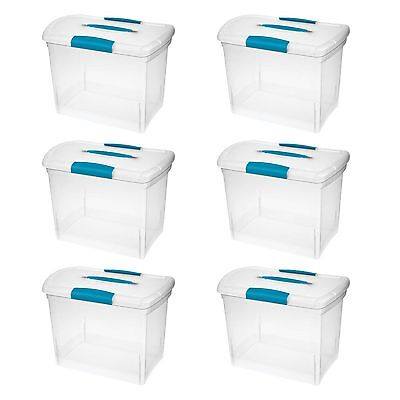 STERILITE LARGE NESTING ShowOffs Clear File Box w Latches 6 Pack