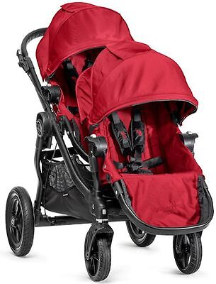 2016 Baby Jogger City Select Twin Tandem Double Stroller Red w/ Second Seat