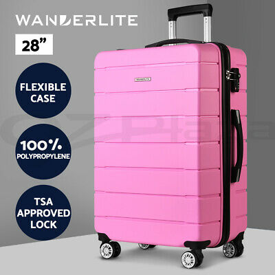 "Wanderlite Polypropylene Luggage Sets 28"" Suitcase PP TSA Travel Hard Case PK"