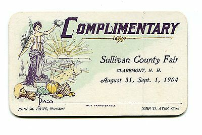 Vintage Complimentary Pass SULLIVAN COUNTY FAIR Claremont NH 1904