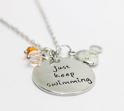 Just Keep Swimming Charms Crystal Pendant Necklace Finding Nemo Dory Inspired