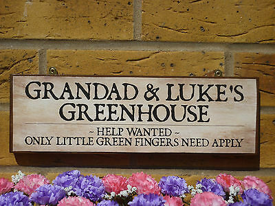 Personalised Greenhouse Sign Garden Sign Flower Bulbs Seeds Compost Flower Pots