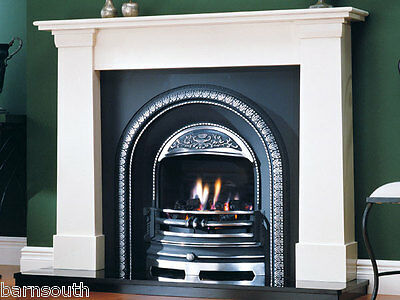 Victorian Natural Limestone Cast Iron Fireplace Package with Gas Fire
