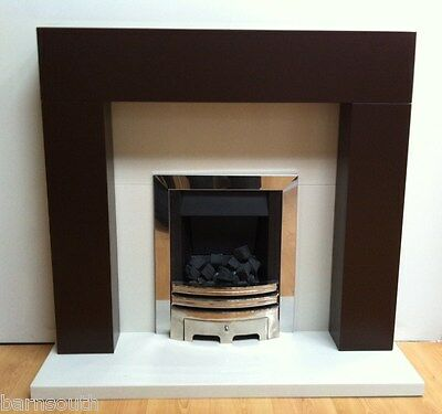Orbit chocolate brown fireplace fire surround with cream marble set