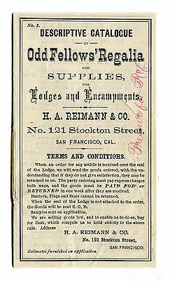 Vintage Advertising Catalogu ODD FELLOWS REGALIA HA Reimann San Francisco CA