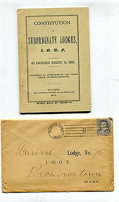 Vintage Booklet IOOF CONSTITUTION OF SUBORDINATE LODGES 1890 Massachusetts