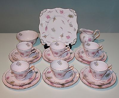 Tuscan China, 21 Piece Tea Set, Very Pink, Windswept.